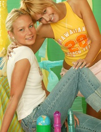Two cute teen blondes exploring their lesbian sexuality